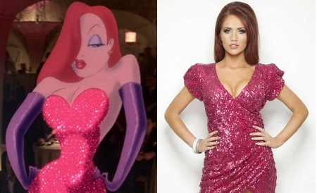 Amy-Childs, Jessica-Rabbit, lookalike, disney